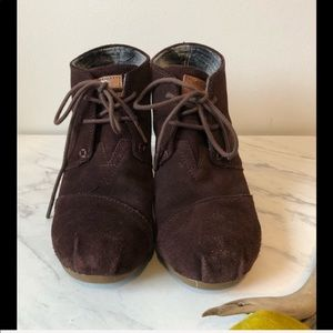 TOMS-Boho Brown Lace-Up Wedge Booties Shoes Sz 7